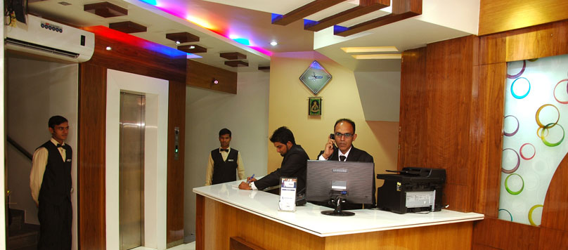 Hotel Merit in Surat has very good interiored and spacious reception